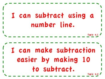 """enVision Math 2.0  Topic 4   Grade 1  """"I can"""" statements"""