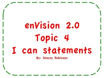 "enVision Math 2.0  Topic 4   Grade 1  ""I can"" statements"