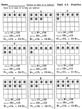 enVision Math 2.0  Topic 4   Grade 1  Practice Sheets