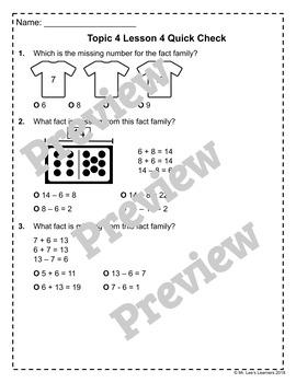 enVision Math 2.0 Topic 4 Quick Checks - 1st Grade