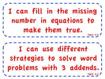"enVision Math 2.0  Topic 5   Grade 1  ""I can"" statements"