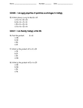 enVision Math 3rd Grade Topic 6 Test - MLS Aligned