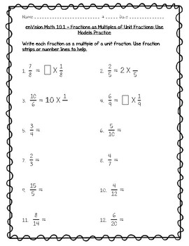 enVision Math 4th Grade - 10.1 Fractions as Multiples of Unit Fractions