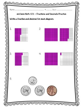 enVision Math 4th Grade - 12.1 - Fractions and Decimals