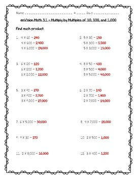 enVision Math 4th Grade - 3.1 Multiply by Multiples of 10, 100, and 1,000