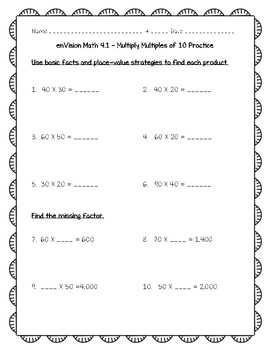enVision Math 4th Grade - 4.1 Multiply Multiples of 10