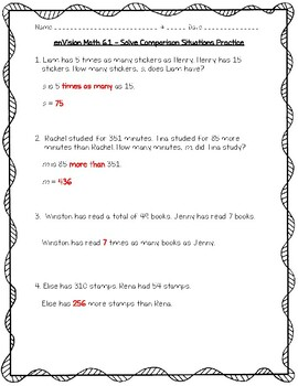 enVision Math 4th Grade - 6.1 Solve Comparison Situations