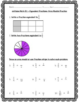 enVision Math 4th Grade - 8.1 Equivalent Fractions: Area ...