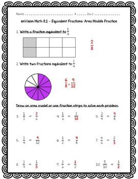 enVision Math 4th Grade - 8.1 Equivalent Fractions: Area Models