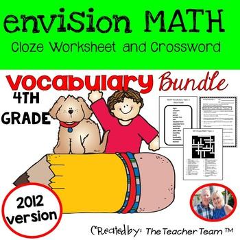 enVision Math 4th Grade Common Core 2012  Vocabulary Activities Bundle