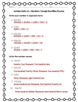 enVision Math 4th Grade - Topic 1 - 1.1 Numbers Through One Million