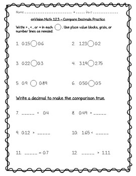 enVision Math 4th Grade - Topic 12 - Understand and Compare Decimals