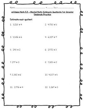 enVision Math 4th Grade - Topic 5 - Divide by 1-Digit Numbers