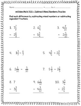 enVision Math 4th Grade - Topic 9 Understand Addition & Subtraction of Fractions