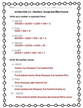 enVision Math 4th Grade Worksheets Bundle