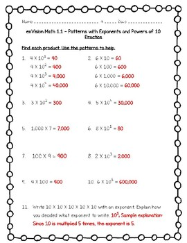enVision Math 5th Grade - Topic 1 - 1.1 Patterns with Exponents and Powers of 10