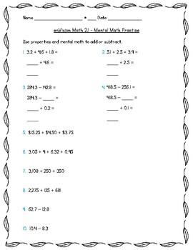 enVision Math 5th Grade - Topic 2 - 2.1 Mental Math