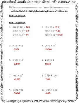 enVision Math 5th Grade - Topic 4 - 4.1 Multiply Decimals by Powers of 10