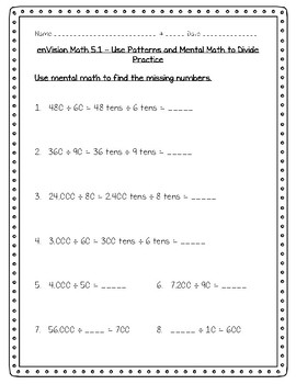 enVision Math 5th Grade - Topic 5 - 5.1 Use Patterns and Mental Math to Divide
