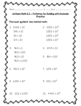 enVision Math 5th Grade - Topic 6- 6.1 Patterns for Dividing with Decimals