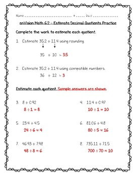 enVision Math 5th Grade - Topic 6 Use Models and Strategies to Divide Decimals