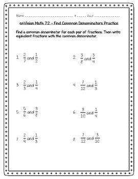 enVision Math 5th Grade - Topic 7 Use Equivalent Fractions to Add & Subtract