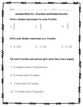 photograph about Envision Math Workbook Grade 5 Printable titled think about Math 5th Quality - Subject 9 - Office of Fractions