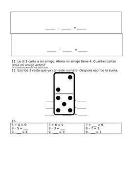 enVision Math Grade 1, Topic 2 Pre/Post-Assessment Spanish