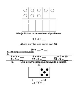enVision Math Grade 1, Topic 4 Pre/Post-Assessment Spanish