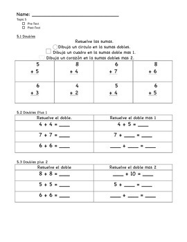 enVision Math Grade 1, Topic 5 Pre/Post-Assessment - Spanish