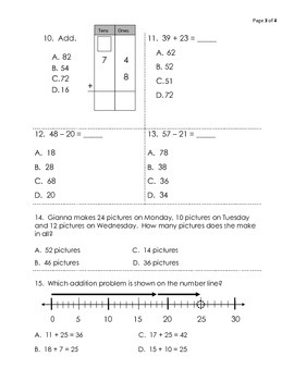 Benchmark Review Topics 5-8 for Pearson EnVision Math Grade 2