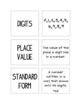 enVision Math - Place Value Matching/Vocabulary - Topic 1 - 3rd Grade