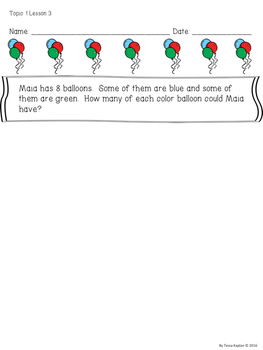 enVision Math Pose the Problem First Grade Topic 1