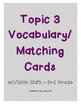 enVision Math - Subtraction Number Sense Matching/Vocabulary - Topic 3 - 3rd
