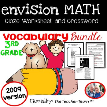 enVision Math 3rd Grade Vocabulary CLOZE and Crossword Activities Bundle