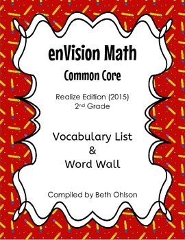 enVision Math Vocabulary & Word Wall - entire year - Grade 2