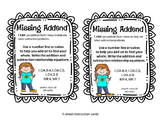 enVision aligned math centers 1st grade Missing Addend