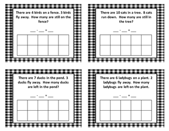 enVision aligned math centers 1st grade Missing Addend Subtraction Cards
