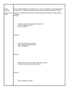 enVision math 2.0- Kindergarten, Topic 9, lesson plans and unit checklist