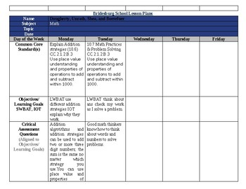 SDP enVisionmath2.0 Topic 10 lesson plans