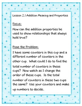 enVisions Grade 3 Topic 2-- Focus, Pose the Problem, and vocabulary