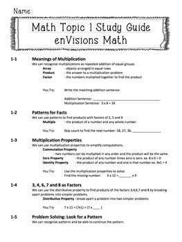 enVisions Topic 1 Study Guide Practice: Fourth Grade