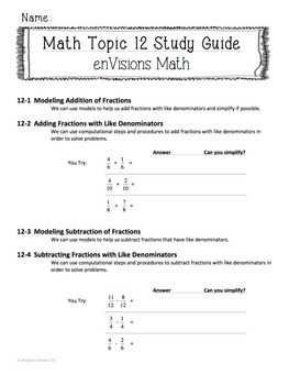 enVisions Topic 12 Study Guide Practice: Fourth Grade