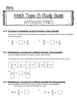 enVisions Topic 13 Study Guide Practice: Fourth Grade