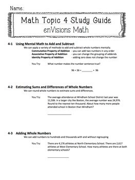 enVisions Topic 4 Study Guide Practice: Fourth Grade