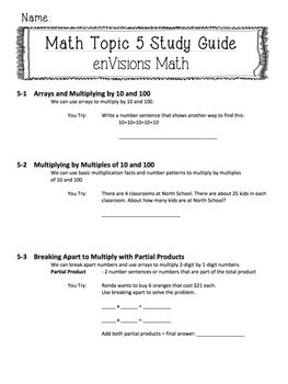 enVisions Topic 5 Study Guide Practice: Fourth Grade