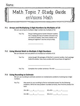 enVisions Topic 7 Study Guide Practice: Fourth Grade