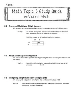 enVisions Topic 8 Study Guide Practice: Fourth Grade