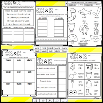 Ending CK and K Worksheets: Cut and Paste Sorts, Cloze, Writing and More!