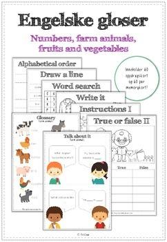 engelske gloser - numbers, farm animals og fruits and vegetables